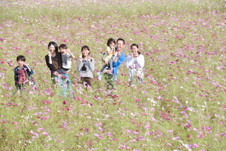 家族写真ファミリーフォトは写真スタジオの室内ではなくコスモスの花が咲き乱れてる公園での自然な笑顔の写真
