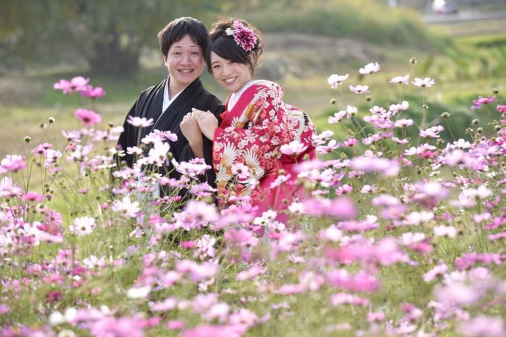石舞台と明日香と談山神社で和装で結婚式の前撮り写真