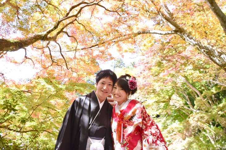 橘寺と石舞台と明日香と談山神社で和装で結婚式の前撮り写真