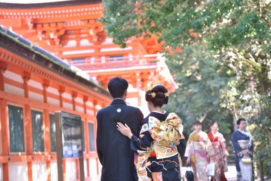 下鴨神社で黒引き衣装で結婚式を地毛で新日本髪の髪型とヘアスタイルの写真
