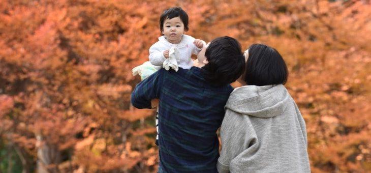 万博記念公園で家族写真
