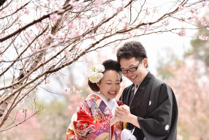 結婚式の前撮り桜の季節で和装ロケーションフォトで白無垢の綿帽子と色打掛けの洋髪の髪型ヘアスタイルの写真