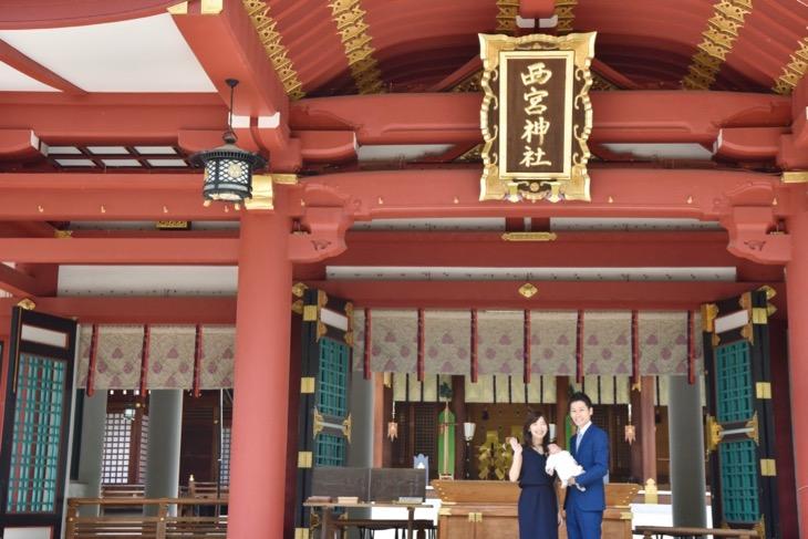 西宮神社でご祈祷の前に駐車場からすぐに撮影を始める神社に出張して撮る記念のスナップ写真