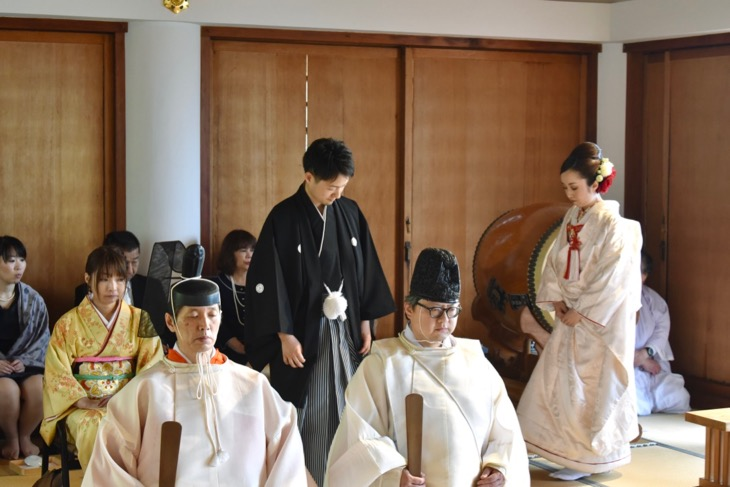自然社本宮での綿帽子や白無垢での結婚式の写真