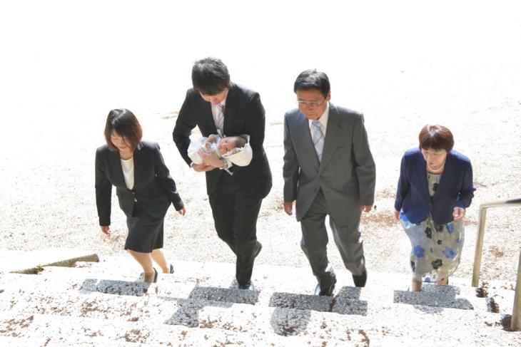 往馬大社でのお宮参りの写真