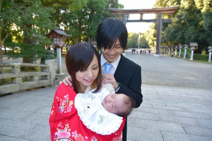 橿原神宮お宮参りの赤ちゃん写真