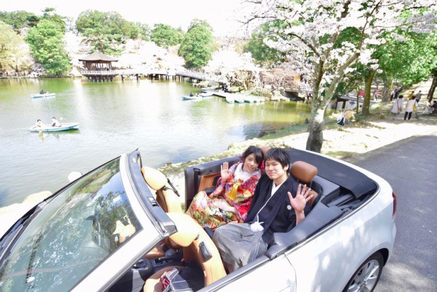 奈良で結婚式の前撮りを桜での写真