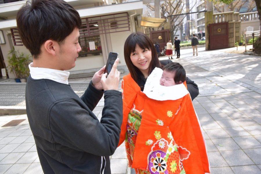 難波神社でお宮参りの写真