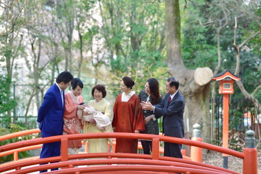 豊中稲荷神社でお宮参りとお食い初め