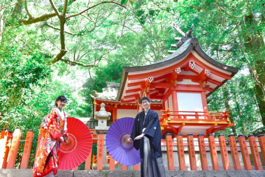 熊野速玉大社と熊野古道と那智浜での結婚式の前撮り写真