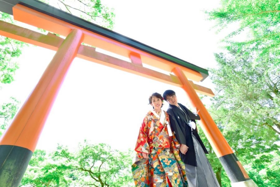 結婚式の前撮りを奈良公園で和装の写真