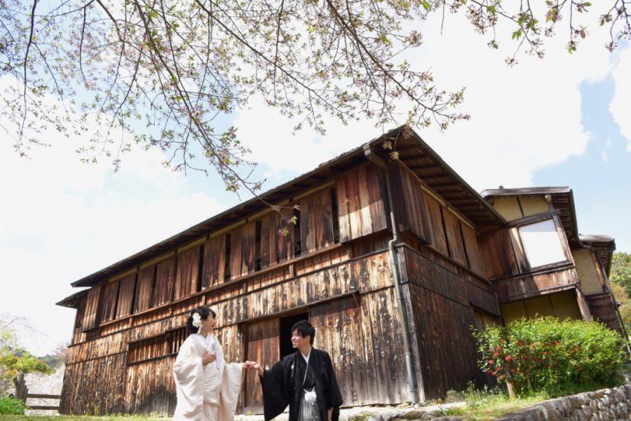 奈良で和装の結婚式の前撮りの写真