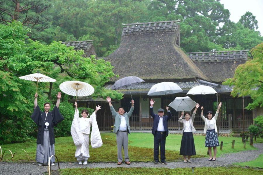 雨の和装前撮りロケーション撮影