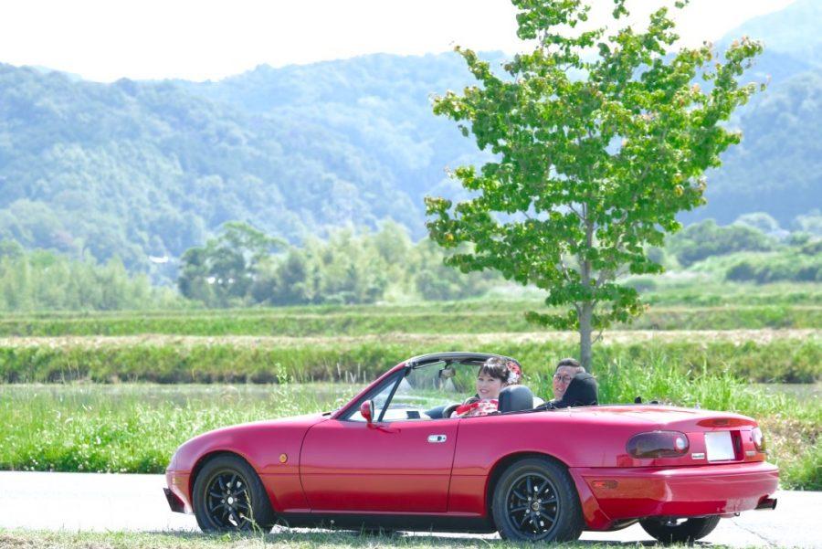 車と一緒に前撮りできる和装ロケーション