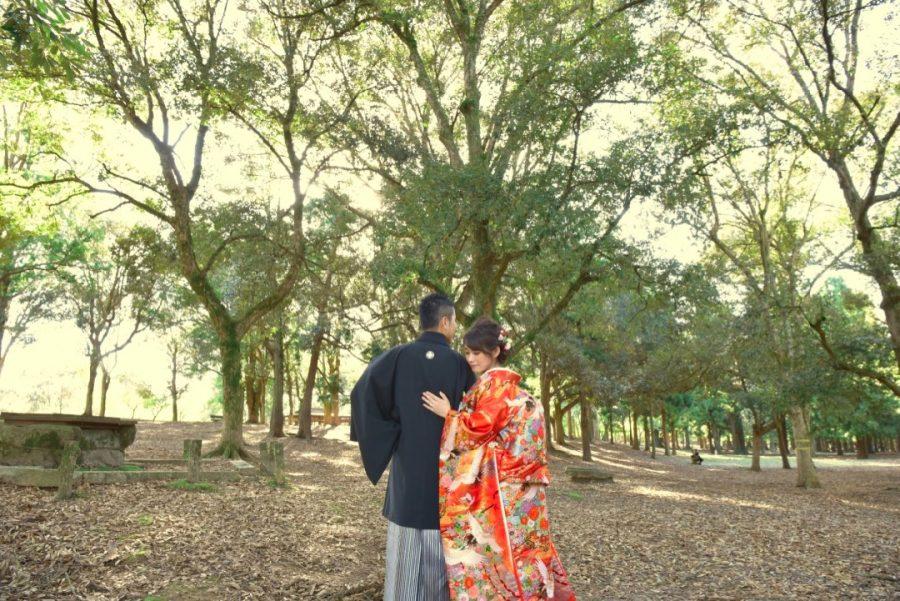 奈良で結婚式の和装前撮り写真