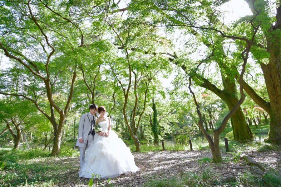 京都植物園でウエディングドレスで前撮り撮影