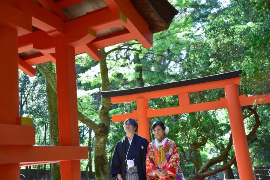 結婚式の和装前撮りロケーション撮影の記念写真