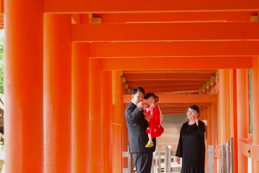 春日大社の七五三記念写真撮影