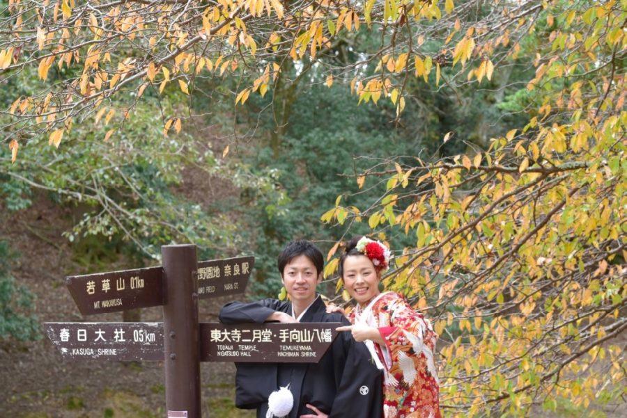 結婚式の和装前撮りを紅葉の奈良公園で撮影