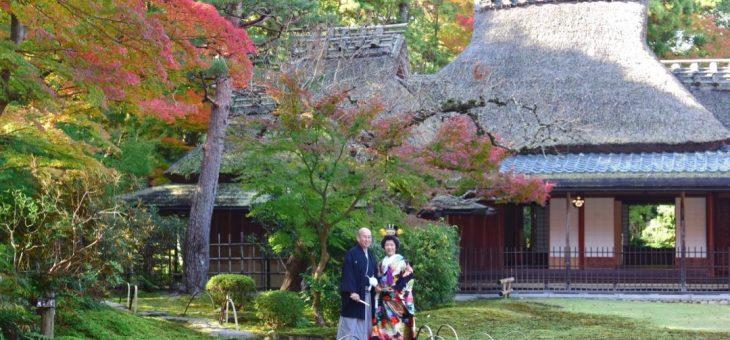 庭園と茶室で和装前撮り