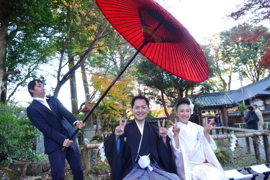 紅葉の吉野山の吉水神社の結婚式