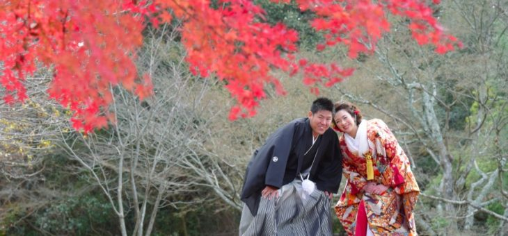 奈良で紅葉の和装前撮りロケーション撮影