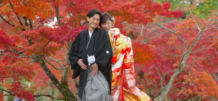東京から和装前撮りにきた2人を紅葉が歓迎してくれました!