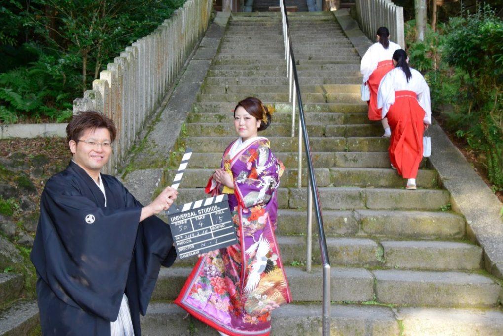 往馬大社で神前挙式の白無垢と色打掛けの写真撮影