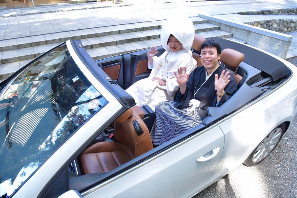 熊野本宮大社で白無垢カツラ綿帽子での結婚式の写真