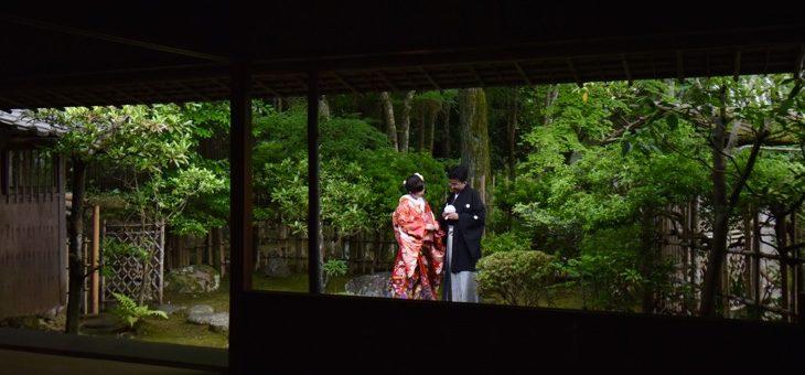 雨の庭園・茶室で前撮り