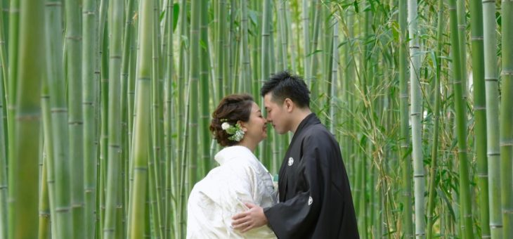 京都の神社と竹林で和装の前撮り