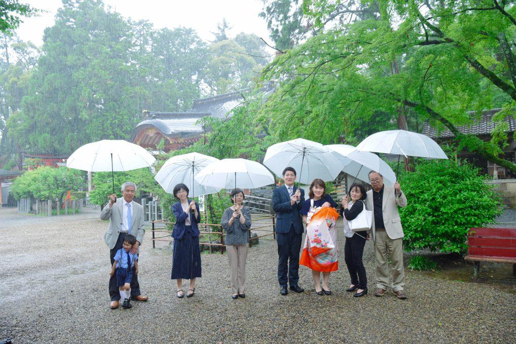 長岡天満宮でお宮参りの記念写真撮影